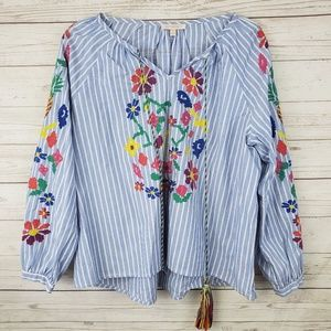 Skies Are Blue Striped Embroidered Floral Top